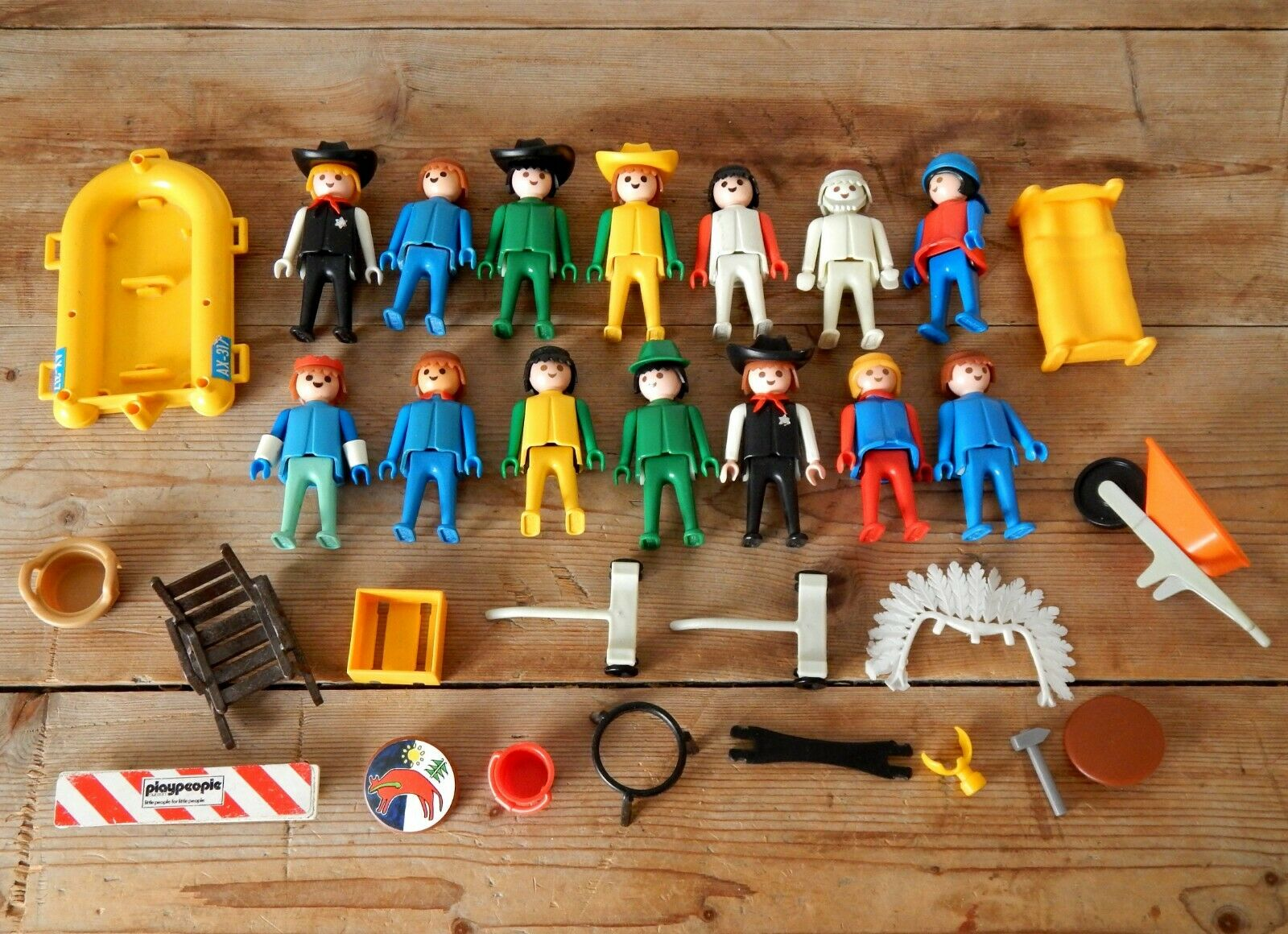 Vintage Vintage Vintage Mixed Lot 1970s Playmobil Playpeople Figures Toys Cowboys People 5636a4