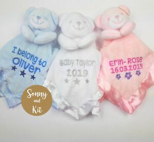 Personalised New Baby Comforter Security Blanket Teddy Bear Christening Gift