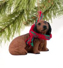 DACHSHUND (RED long hair) DOG  CHRISTMAS ORNAMENT HOLIDAY  XMAS Figurine Scarf