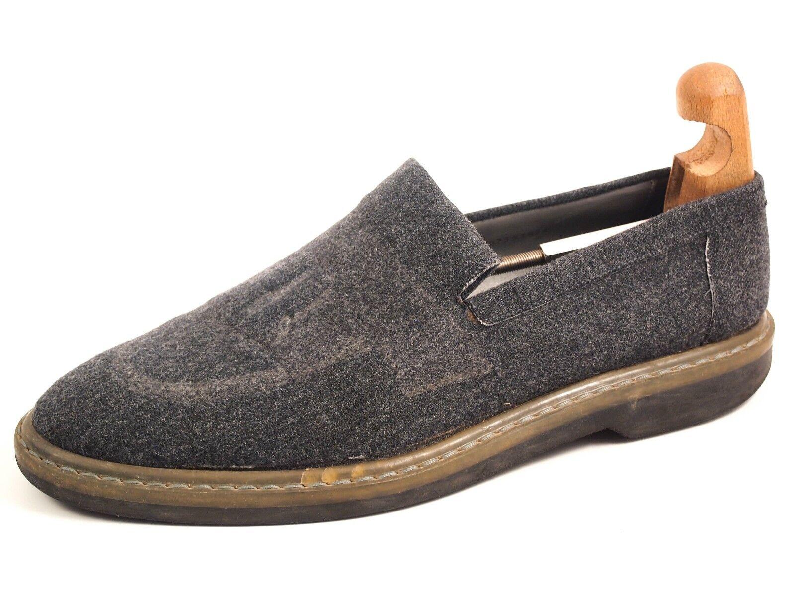 Emporio Armani moccasins, grey wool, men's shoe size US 10 EU 43