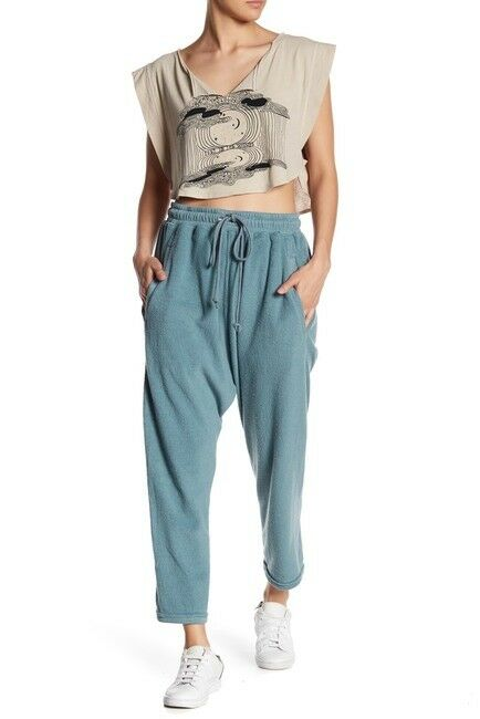 Free People Size Large Slouchy Cropped Sonny Jogger Pants bluee
