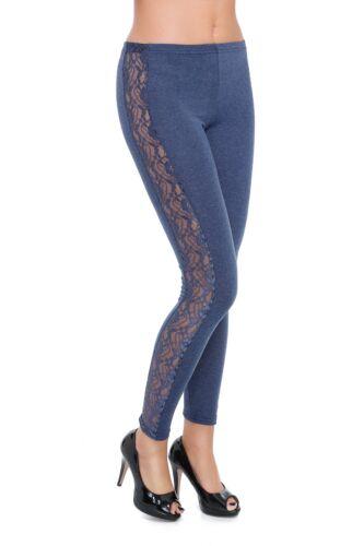 Womens Full Length Leggings with Lace Stripe Elegant Stretchy Pants 8-20 LPL