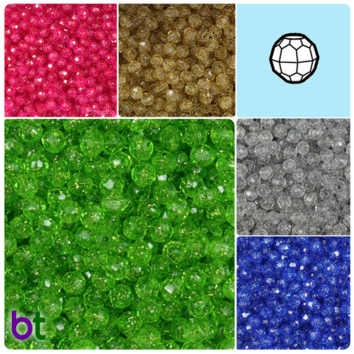 BeadTin Sparkle 6mm Faceted Round Craft Beads 750pcs Color choice