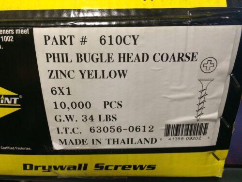 "INTERCORP 610CY #6 X 1/"" Drywall//Deck Screws Yellow Zinc 10,000 BOX"