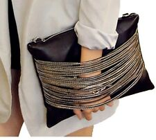 Ladies Designer Fashion Faux Leather Chain Pocket Handbag Shoulder Bag