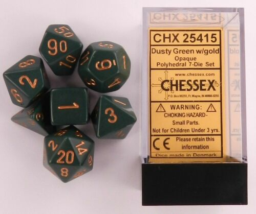 Chessex 7 Dice Set Opaque Dusty Green with Gold CHX 25415 for D/&D /& D20