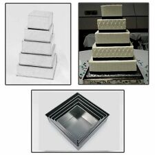 5 Tier Square Multilayer Wedding Birthday Anniversary Cake Baking Tins  Pans