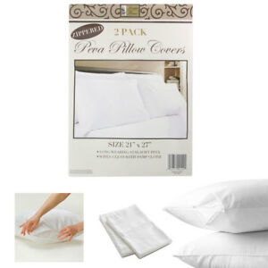 2-White-Hotel-Pillow-Plastic-Cover-Case-Waterproof-Zipper-Protector-Bed-21-X-27