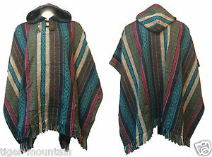 Hippy-Boho-Thick-Unisex-Hooded-Poncho-from-Nepal-in-Turquoise-Green-amp-Blue