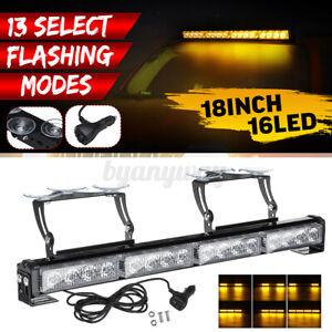 16-LED-Emergency-Warning-Strobe-Light-Lamp-Bar-Flashing-Amber-Beacon-Yellow