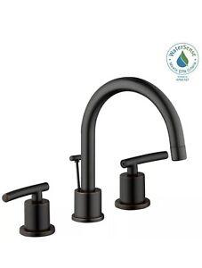 Bronze 8 in WaterSense Certified 2-Handle Widespread Bathroom Faucet High-Arc