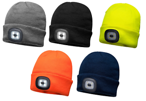 Portwest LED Torch Head Light Beanie Winter Hat USB Rechargeable Yellow B029