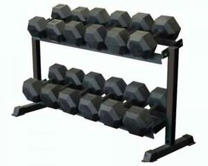 dumbbell rack 2 tier hand weight storage shelf holder home