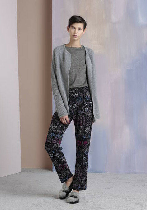 IVKO Wolle Hose wool trousers anthracite grey purple bluemen floral 82542