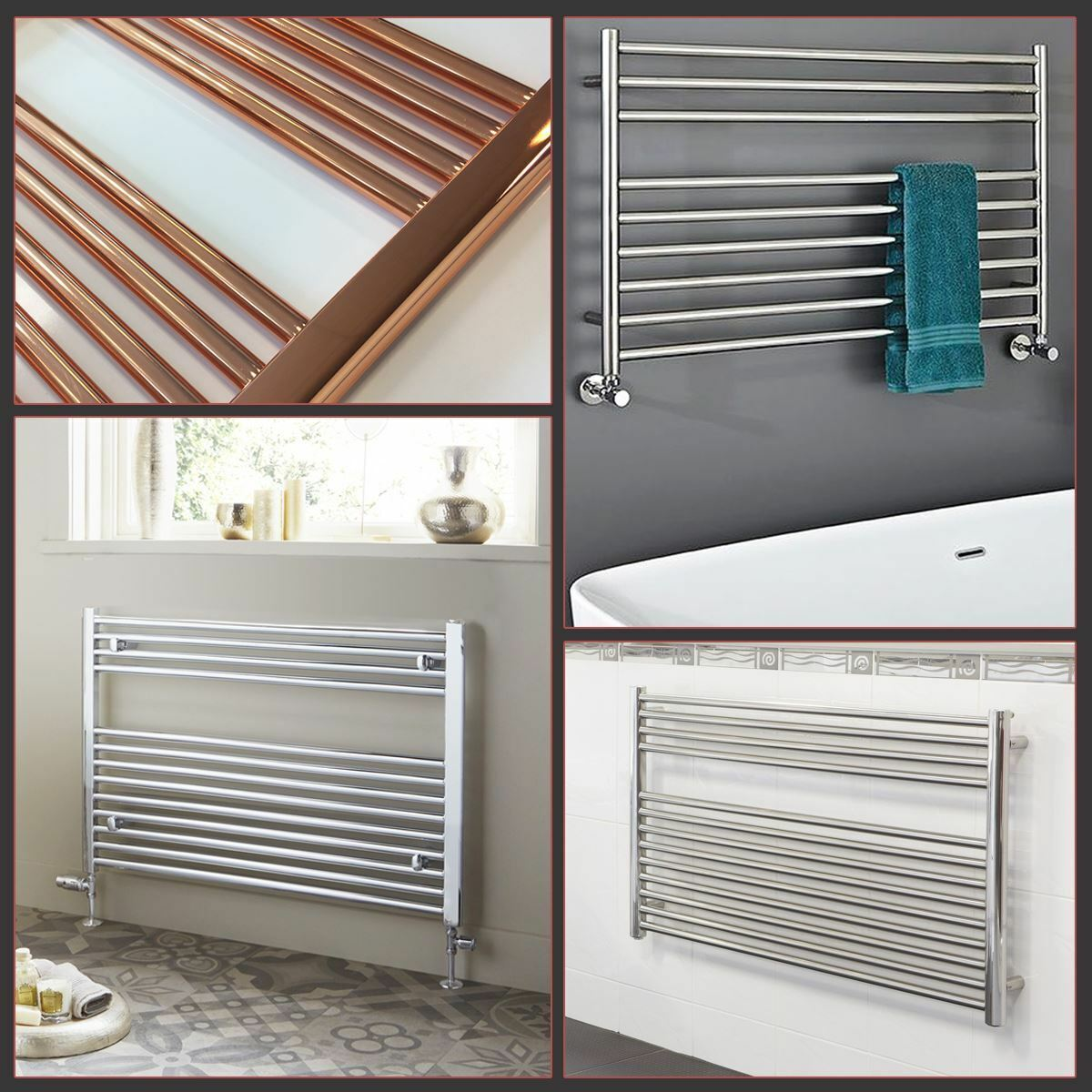 HIGH QUALITY  Chrome, Copper OR Stainless Steel HORIZONTAL Heated Towel Rails