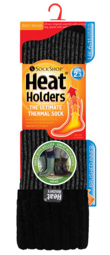 Mens Winter Cuffed Thermal Ribbed Wellington Boot Socks 6-11 uk Heat Holders