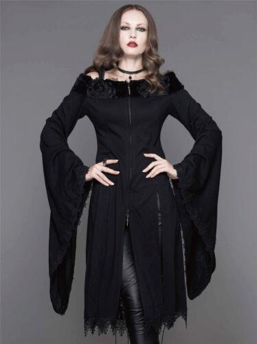Devil Fashion Women Black Dress Gothic punk Long Coat Jacket Steampunk Victoria