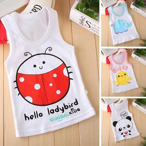 Kids Cartoon Boys Girl Sleevess T-shirt  Summer Tee Tops Shirt Vest Clothes