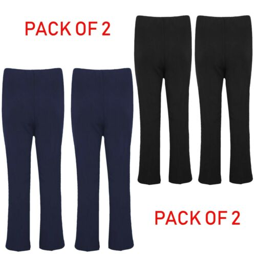 Pack of 2 Womens Bootleg Trousers Ladies Ribbed Stretch Boot Cut Work Bottoms