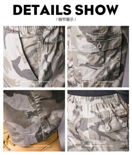 Mens Cargo Trousers Pants Cotton Loose Casual Overalls Pockets Camo L-5XL New