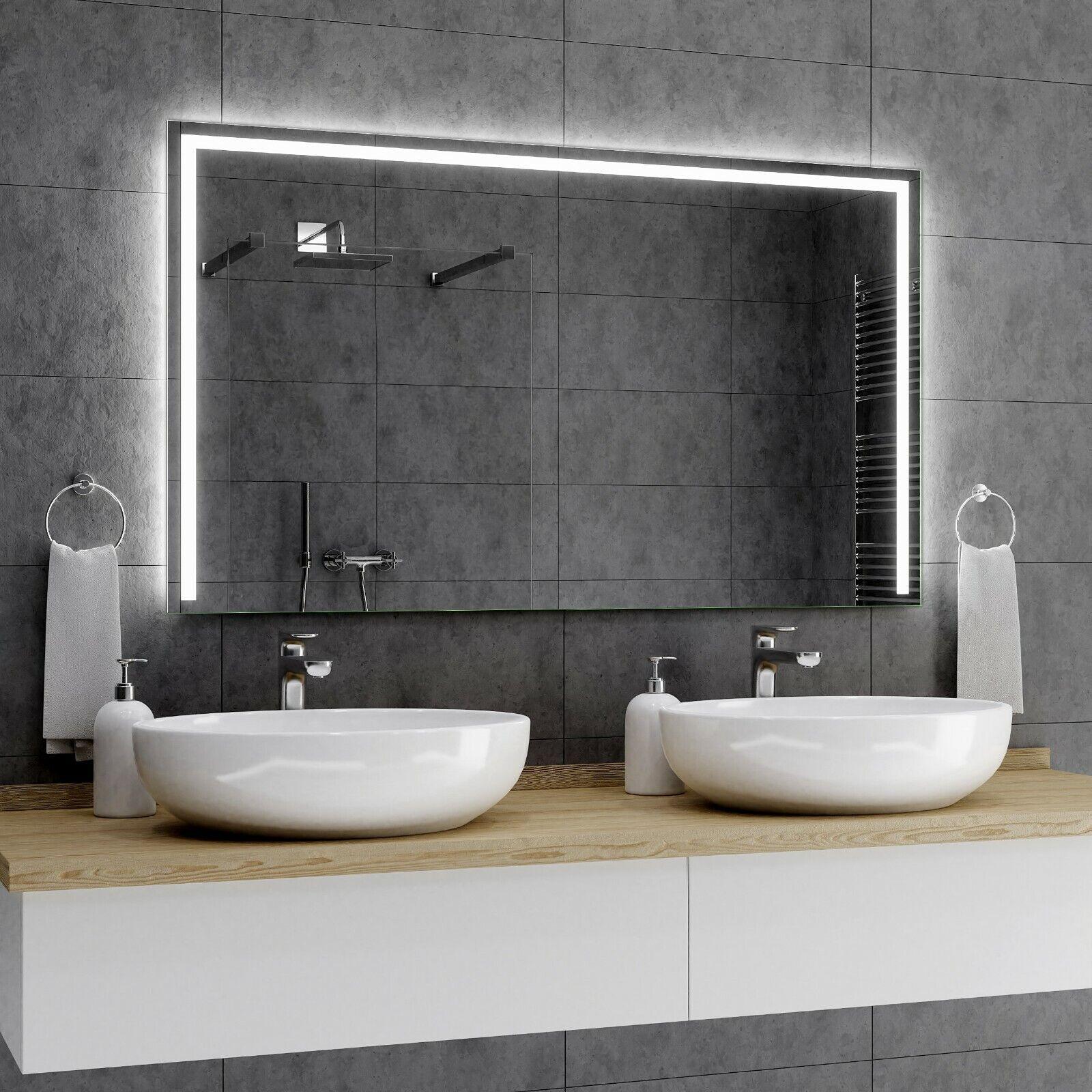 SYDNEY Badspiegel mit LED Beleuchtung Wandspiegel Badezimmerspiegel nach Maß A01