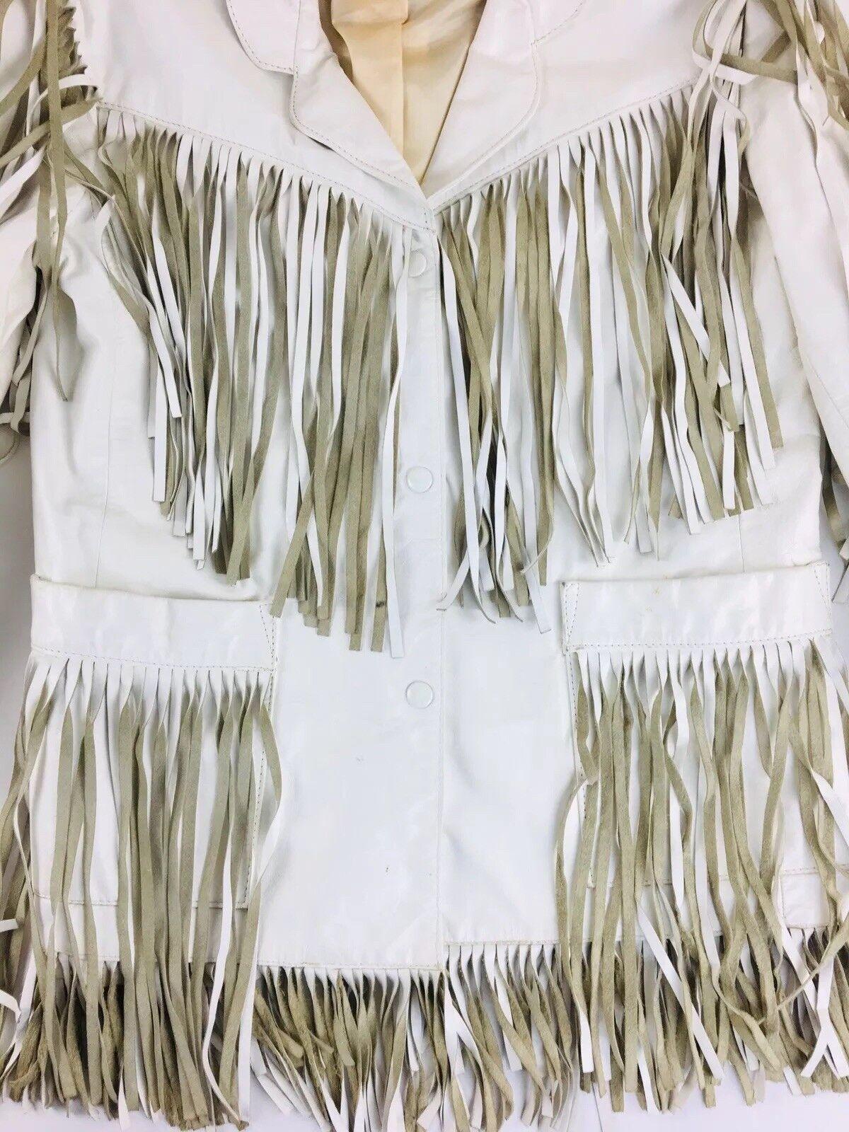 Vintage White Leather Jacket Vakko Leather Fringe… - image 2