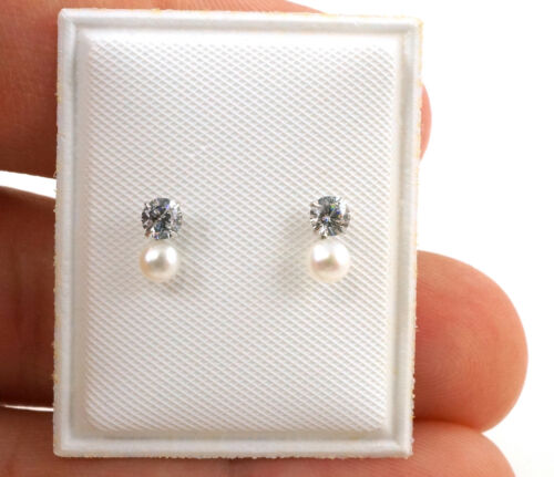 Sterling Silver 3mm Zirconia Faux Pearl Earrings for TODDLER GIRLS