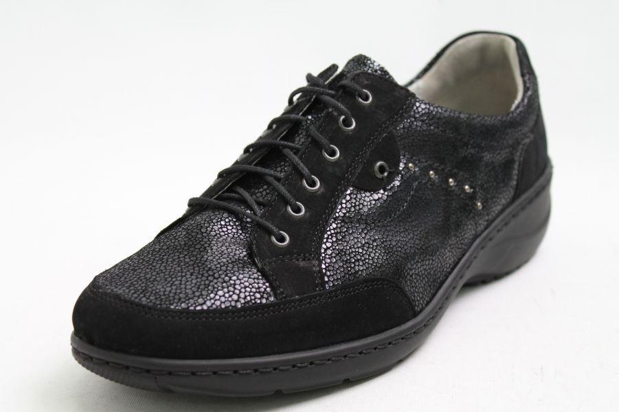Waldläufer Schuhe schwarz Nubuk Leder Wechselfußbett Schuhweite K