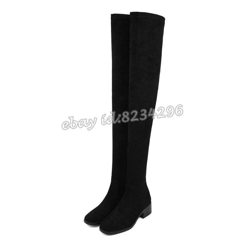 Schenkelhoch Lederstiefel Damenschuhe Stiefel Eckig Boot Overknee Stiefel Damenschuhe Niedrig Absatz 270f3b