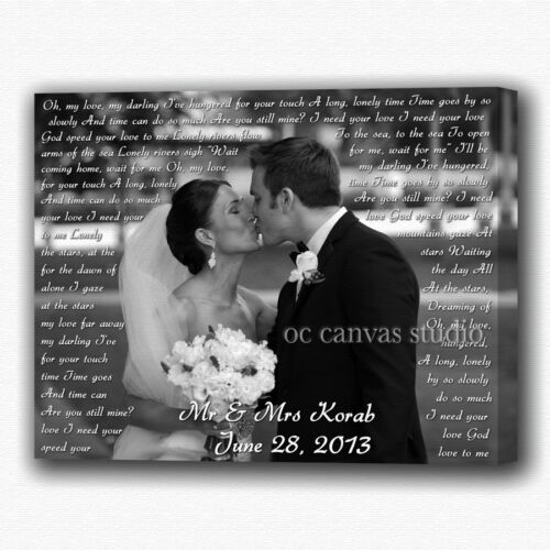 Ready to Hang  ! Gallery Wrapped Wedding Custom Photos Print on Canvas