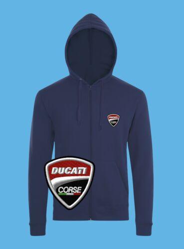 Ducati Sweat Shirt à Capuche Logo Brodé Hoodie Zippé éclair Homme Motocyclette