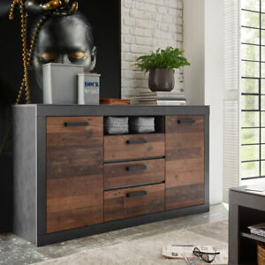 Details zu Sideboard 51 Brooklyn Anrichte Kommode Wohnzimmer Matera grau  und Old Mix braun