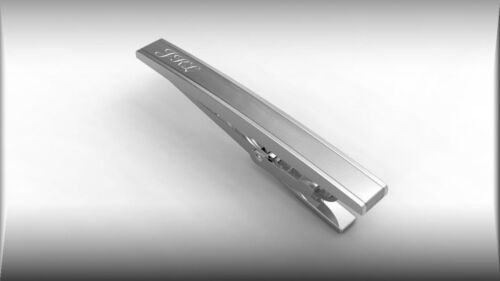 MONOGRAMMED SILVER STAINLESS STEEL TIE CLIP INITIALS CUSTOM ENGRAVED CLASP BAR