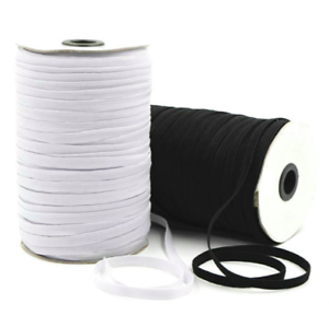 Black Flat Elastic Cord 5mm For Sewing Crafts Dressmaking Tailoring