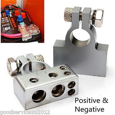 Pair Positive/&Negative Car Battery Terminal Connectors 0 2 4 8 AWG Gauge Golden