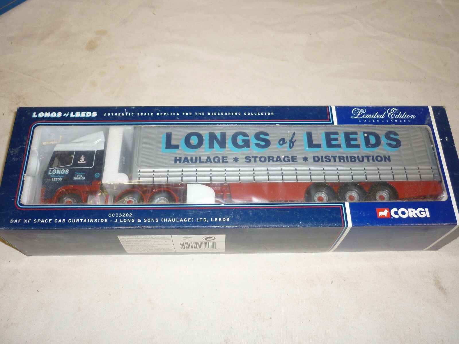 Corgi, CC 13202, DAF Space cab,  curtainside, J.Long & son haulage.ltd. LEEDS