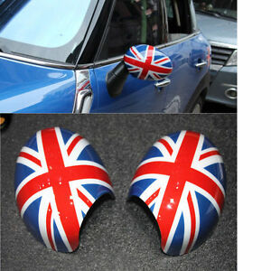 Details about 1Pair UNION JACK Rear Mirror Cover Protection Case Shell For  Mini WING R55 R56