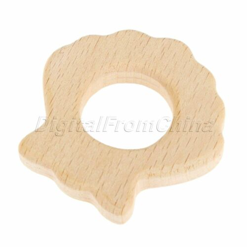 1Pc//3Pcs Baby Wood Teether Shape Natrual Wooden Baby Teether Toys Shower Gifts