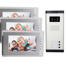 "7"" Color LCD Video Door Phone System Wired Intercom Doorbell IR Camera+3 Monitor"
