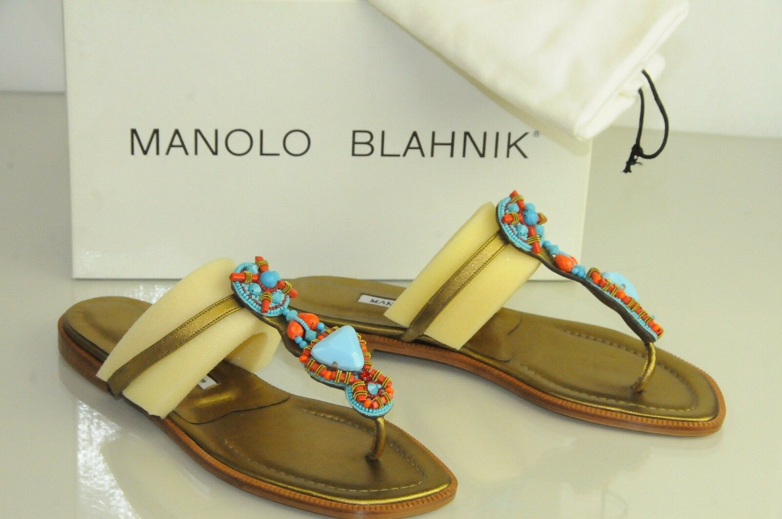 Neuf Manolo Blahnik Boflat Boflat Boflat Bronze Cuir Orné Plats Sandales 41.5 df17b6