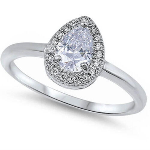 1CT PEAR HALO STYLE CZ ENGAGEMENT .925 Sterling Silver Ring sizes 5-10
