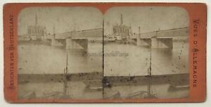 Germania Pont Da Ferro Colonia Koln Foto Vintage Stereo Albumina