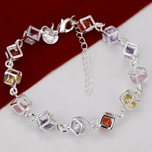 Damen-Armband-mit-farbigen-Steinen-925-Sterling-Silber-plattiert-Schmuck