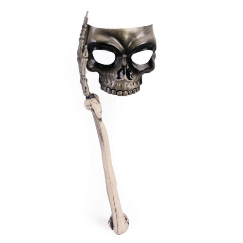 Skull Mask with Bone Handle Halloween Fancy Dress Eye Mask Prop