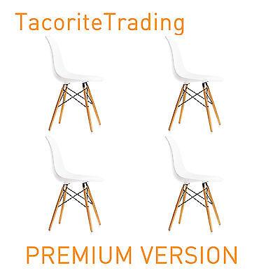 4 X (4X) (X4) WHITE Eames Eiffel style DSW Lounge Dining Chair wood Modern Beech