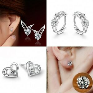 HOT-Women-925-Sterling-Silver-Gold-amp-Metal-Crystal-Rhinestone-Ear-Stud-Earrings