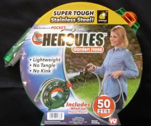 Brand New 50ft Stainless Steel Hercules Garden Hose with Wind-Up Hose Reel