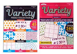 Variety-Puzzle-Book-Crosswords-Sudoku-Mazes-Sumoku-Mosaics-Books-Vol-20-amp-21-Set