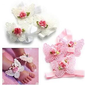 Newborn Baby Girl Headband Foot Flower Elastic Hair Band Set Accessories 6A