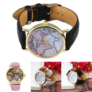 Vintage earth world map watch alloy women analog quartz wrist image is loading vintage earth world map watch alloy women analog gumiabroncs Image collections